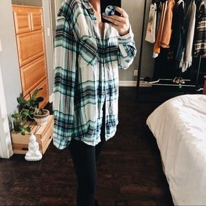 Cozy Over Sized Flannel Blue Gingham Plaid Striped